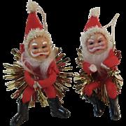 2 Santa Claus Ornaments With Tinsel Stars Vintage Japan