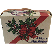 Merry Christmas Candy Container Box with Holly Pinecones and Ribbon Happy New Year