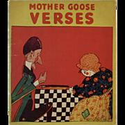 1929 Mother Goose Verses Children's Linen Book Saalfield Pub Co Art Deco Color Illustrations