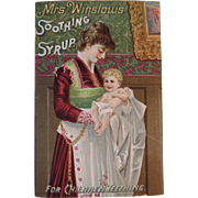 1889 Calendar Mrs Winslows Soothing Syrup for Children Teething Victorian Trade Card in English German and French