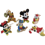 6 Disney Christmas Ornaments Minnie and Mickey Mouse Pluto Donald Duck Japan Ceramics Vintage Christmas