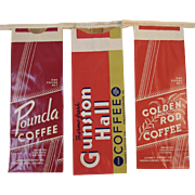 3 Janney Coffee Co Unused Sacks Bags Pounda Gunston Hall and Golden Rod Brand Coffees Fredericksburg Virginia