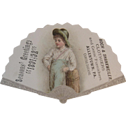 1891 Victorian Christmas Trade Card Fan Shaped Seasons Greetings from Kok & Shankweiler Clothiers of Allentown, PA