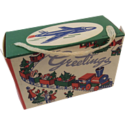 Christmas Candy Box with Santa's Train and an Airplane Made in USA Litho Container