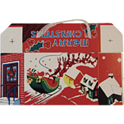 Christmas Candy Box with Santa Sleigh and Reindeer Made in USA Container Unused