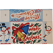 Large Christmas Candy Box Snowmen Carolers and Bells Made in USA Container Unused Snowman