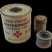 Red Cross Blue Cross and Zonas Adhesive Tape Plaster Tins Johnson & Johnson and Hampton Mfg J&J