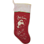Red Felt Christmas Stocking Santa Checking His List Vintage
