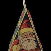 Triangular Christmas Candy Box with Santa and Christmas Tree Vintage Triangle