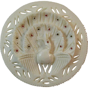 Carved Celluloid Peacock Pin