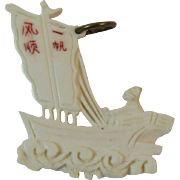 Carved Celluloid Charm of a Chinese Junk Boat