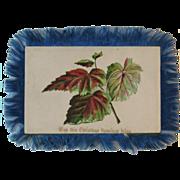 Victorian Silk Fringe Christmas Card Botanical Motif  and New Year Greeting