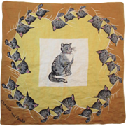Chessie and Peake C & O Railroad Hanky Handkerchief Chesapeake and Ohio Railway Cat Advertising
