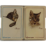 Chessie and Peake Playing Cards Double Deck in Original Box C & O Railroad Chesapeake and Ohio Railway Cats Advertising Purr-fect Transportation System