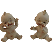 Bisque Kewpie Crying Baby Salt and Pepper Shakers Vintage Lego Japan