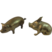 2 Solid Brass Pig Paperweight Figurines