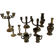 12 Brass and Metal Dollhouse Miniatures Candelabras Candlesticks Vases Chalice Creamer Sugar and Hurricane Lamp