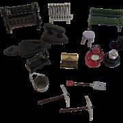 14 Dollhouse Miniatures Cast Metal Iron Lanterns Sewing Machine Cradle Iron Trivet Bench Stool Typewriter Radiator