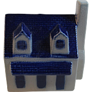 Eldreth Pottery House Bank Salt Glazed with Cobalt Decoration Pennsylvania Folk Art Hand Made