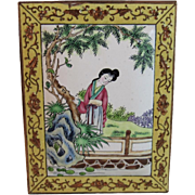 Japanese Enamel on Copper Plaque Lady on Bridge