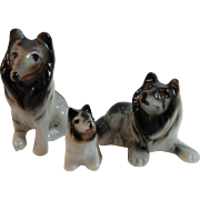 Miniature Collie Sheltie Lassie Dog Family Porcelain