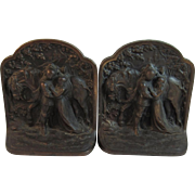 Hubley Fairy Tale Knight and Maiden Book Ends Bookends Cast Iron Number 313