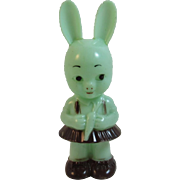 Knickerbocker Green Easter Bunny Girl with Carrot Rattle Vintage Hard Plastic