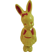Irwin Easter Bunny Girl Rattle Vintage Hard Plastic Decoration