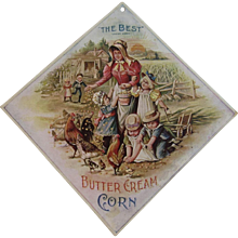Wunderle Candy Advertising for The Best Butter Cream Corn Cardboard Hanging Card Philadelphia