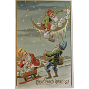 c1911 Gnomes New Year's Greetings Postcard Embossed