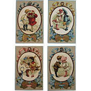 Four Seasons German Valentine Postcard Series from T.P. & Co TP Embossed Germany
