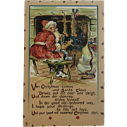Tuck Leatherette Santa Filling Stockings Postcard Raphael Tuck & Sons