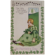 MEP Irish Colleen St. Patrick's Day Postcard Music Song Lyrics Margaret Evans Price Illustrator Unused Embossed Stecher Litho Co