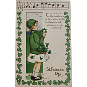 MEP St. Patrick's Day Postcard Music Song Lyrics Margaret Evans Price Illustrator Unused Embossed Daughters of Erin