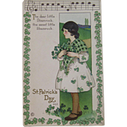 MEP St. Patrick's Day Postcard Music Song Lyrics Margaret Evans Price Illustrator Unused Embossed Stecher Litho Co