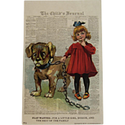 1907 Julius Bien Flat Wanted Postcard Girl with Dog The Want Series