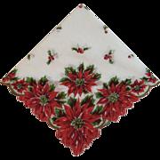Vintage Christmas Poinsettia Hanky Handkerchief with Scalloped Edges