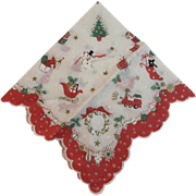 Mid Century Christmas Hanky Handkerchief Vintage Scalloped Edge