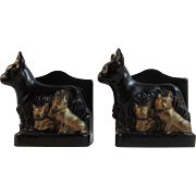 Boxer Mama and Puppy Dogs Bookends Cast Metal Book Ends