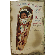 Signed Clapsaddle Indian Baby Papoose New Year Postcard IAP Printed in Germany German International Art Publishing Co Series 1337