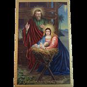 German Gel Postcard Holy Family Nativity Christmas Greetings Germany