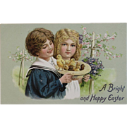 Tuck Easter Postcard Children with Hat Full of Chicks Embossed
