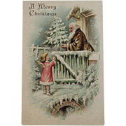 Brown Robe Santa with Angel Embossed Postcard Unused