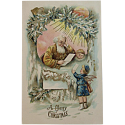 German Gold Robe Santa with Angel Embossed Postcard