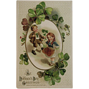 1914 Winsch St. Patrick's Day Embossed Postcard Children and Shamrocks Unused