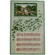1910 German St. Patrick's Day Embossed Postcard with Music and Song Lyrics for Erin Our Dear Native Land