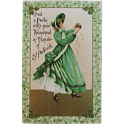 1909 German St. Patrick's Day Embossed Postcard Lady in Green Dress