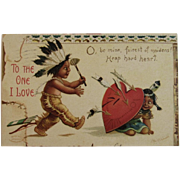1908 Signed Clapsaddle Valentine's Day Postcard Native American Indian Children International Art Publishing Co IAP Germany German Embossed