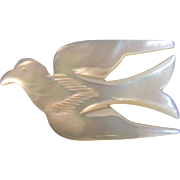 Carved Mother of Pearl Dove Pin Flying Bird MOP