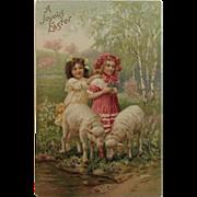 German Girls with Lambs Easter Postcard Embossed Unused Germany
